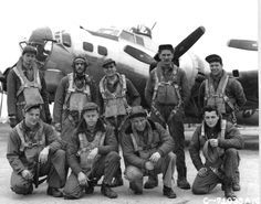 """""""The Birmingham Jewell"""", B-17 crew, 8th Air Force, 379th Bomb Group, Kimbolton, England. Back row, far left, is my dad, Walter W. Smith, pilot. """"Smitty"""" Smith flew 49 missions to France & Germany. He named his B-17 """"The Birmingham Jewell"""", after his wife, Jewell, and their hometown of Birmingham, Alabama. """"The Jewell"""" was shot down on her 129th mission, which at the time, had made more missions than any other B-17 in the 8th Air Force."""