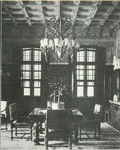 Sala de Jantar da Residência de João Dente. Fotografado por José Pereira Lima, que ganhou um prêmio na Série Interiores da Revista Cigarra, em fevereiro de 1919.