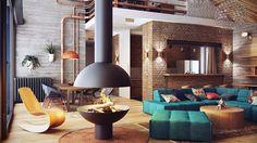 60+ идей кирпичной стены в интерьере (фото) http://happymodern.ru/kirpichnaya-stena-v-interere/ Гостиная с кирпичной стеной, выступающей основным декоративным акцентом, может быть очень уютной и стильной
