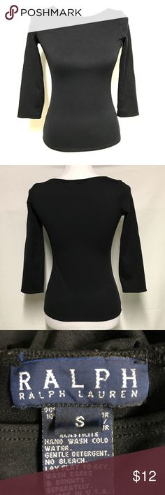 RALPH LAUREN BLUE LABEL BLACK SHIRT Black fitted shirt with 3/4 sleeve. Size small that I think runs a bit small.. Great layering piece Ralph Lauren Tops Tees - Long Sleeve