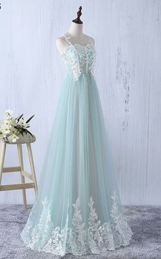 Beautiful Elegant Tulle Long Spaghetti Straps Formal Gowns, A-line Tulle Party Dress, Pretty Party Dresses - Prom Dresses - Beautiful Elegant Tulle Long Spaghetti Straps , A-line Tulle , Pretty - Mint Prom Dresses, Junior Prom Dresses, Prom Dresses For Teens, Tulle Prom Dress, Wedding Dresses, Party Dress, Long Dresses, Sexy Dresses, 1950s Dresses