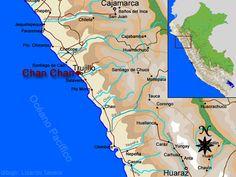 """Chan Chan se ubica en el valle de Moche, frente al mar, a mitad de camino entre el balneario de Huanchaco y la ciudad de Trujillo, capital del departamento de La Libertad en la costa norte del Perú El sitio arqueológico cubre un área aproximada de 20 kilómetros cuadrados. La zona central esta formada por un conjunto de 10 recintos amurallados (llamados """"ciudadelas"""") y otras pirámides solitarias. Este conjunto central, cubre un área de 6 kilómetros cuadrados, aproximadamente."""