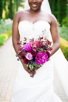 My beautiful heart shaped, purple-toned bridal bouquet! #purple #roses #dahlias #lilies