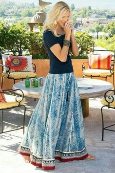 Beautiful long skirt in blue #summer #boho