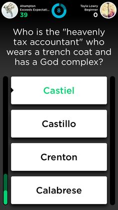 A question on quiz up under the category TV characters!