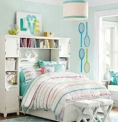 Pin for Later: Tween Girl Bedroom Redecorating Tips, Ideas, and Inspiration Play into her interests, but subtly. Girls Bedroom Furniture, Bedroom Decor, Wall Decor, Light Bedroom, Bedroom Office, Cute Bedroom Ideas, Bedroom Inspiration, Ideas Hogar, Teen Girl Bedrooms