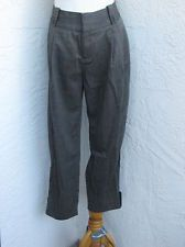 Calvin Klein size 8 dark gray wool tapered leg cropped baggy pants trousers