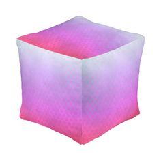 Gradient Cateye Pattern Cube Pouf #gradient #fuschia #purple #grunge #pattern #cateye #oudeen #cool #trendy #girly #abstract #colorful #modern #whimsical #geometric