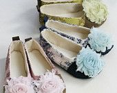 Couture Toddler Shoes, Ballet Flats, Pink Toile de Joey with shabby chic rose - Baby Shoe Sizes too - Baby Souls Baby Shoes. $34.00, via Etsy.