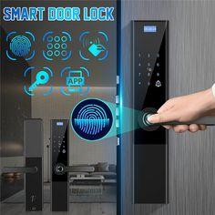Digital Biometric Fingerprint Lock Keyless Smart Door Lock APP+ Touch+ Password +Key+pad Card+ Fingerprint 6 Ways Smart Door Locks, Alarm Sound, Smart Home Technology, Door Handles, Apps, Doors, Touch, Design, Digital Lock
