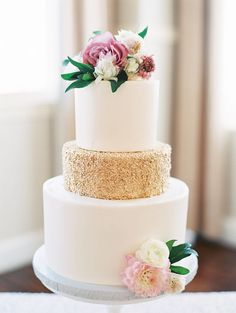 Stunning white and gold flower topped wedding cake: Beautiful Multi Cultural Dallas Wedding