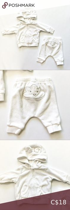Newborn Terry Sweat Suit ooooo I just love this little matching terry-cloth sweat suit for baby! Natural white in colour with the smiling cloud detail on the bum and ears on the hood!  Size Newborn Matching Sets Plus Fashion, Fashion Tips, Fashion Trends, White Shorts, Ears, Cloud, Suits, Detail, Natural