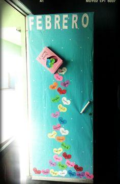 Puerta para Febrero caja de dulces Corazones