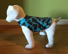 Fleece Dog Coat, Extra Small or Small, Aqua and Brown Damask Print Fleece with Brown Fleece Lining www.TheThimbleAndHound.com