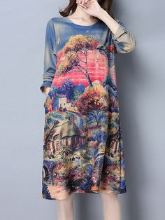 Scenery Printed Loose Manga Larga O Neck Women Dresses