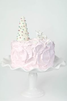 Sprinkle Bakes: Eggnog Cake with Pink Marshmallow Frosting
