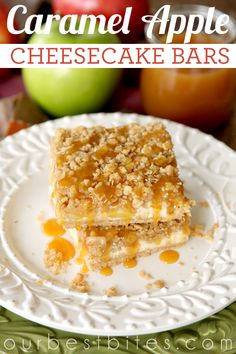 Buttery shortbread crust topped with creamy cheesecake, spiced apples, streusel topping and luscious caramel. These Caramel Apple Cheesecake Bars are to die for! Apple Recipes, Sweet Recipes, Cookie Recipes, Dessert Recipes, Fall Recipes, Veggie Recipes, Dessert Ideas, Easy Desserts, Delicious Desserts