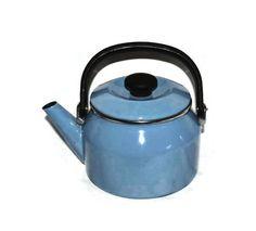Blue Enamelware Teapot or Graniteware Tea by ChicMouseVintage