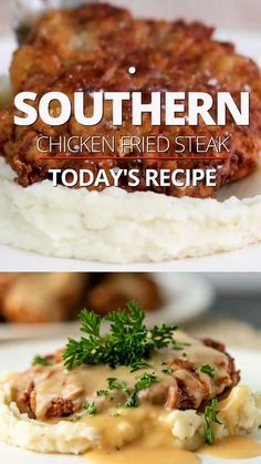 This recipe for chicken fried steak is easy to make and served with homemade gravy. Make this comfort meal for dinner or a hearty breakfast! Chicken Recipes, Meat Recipes, Dinner Recipes, Cooking Recipes, Chicken Fried Steak, Cooking Videos, Food Videos, Top Food Blogs, Fries