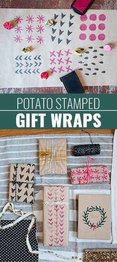 DIY Gift Wrapping Ideas - How To Wrap A Present - Tutorials, Cool Ideas and Instructions | Cute Gift Wrap Ideas for Christmas, Birthdays and Holidays | Tips for Bows and Creative Wrapping Papers | Potato-Stamp-Gift-Wrap | http://diyjoy.com/how-to-wrap-a-gift-wrapping-ideas