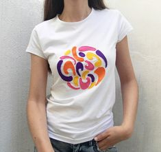 T-shirt with abstract pattern-minimalist tshirt-hand painted tshirt-embroidered tshirt-white tshirt-women's tshirt-gift for her White Tshirt Women, T Shirts For Women, 60s Patterns, Greek Fashion, Eco Clothing, Handmade Clothes, Slow Fashion, Sustainable Fashion, Disco Ball
