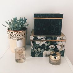 Details #decor #homedecor #myhome #details #plant #boxes #zara #parfume #clarins #foundation #interior #green #flowers #gold #lace #vsco #jysk