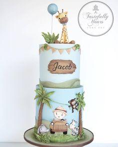 What a cute Safari theme birthday cake 😊 . Jungle Safari Cake, Safari Birthday Cakes, Boys 1st Birthday Cake, Safari Cakes, Jungle Theme Cakes, Purple Birthday, Baby Shower Cakes, Eat Cake, First Birthdays