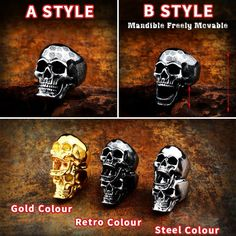 Stainless steel punk Rock skull soul leader can be moved three style Ring men Party Gift fashion Retro jewelry Men Party, Party Gifts, All About Fashion, Passion For Fashion, Fashion Details, Fashion Ideas, Fashion Inspiration, Fashion Outfits, Trendy Fashion