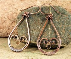 "Copper and Crystal Wire Wrapped Dangle Earrings by JayelleJewelry, $27.00 1"" wide, 2 1/2"" long"