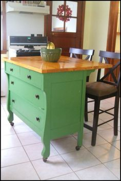 This old dresser is given new life by turning it into a kitchen island! Feeling inspired? :)