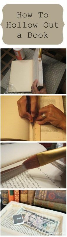 Hollowing out a book to make a secret book safe - DIY-inspired . Hollowing out a book to make a secret book safe – DIY-inspired … – # * # DIY inspired Sou Diy Home Crafts, Fun Crafts, Paper Crafts, Upcycled Crafts, Folded Book Art, Book Folding, Book Projects, Diy Projects, Old Book Crafts