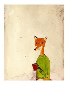 Cup of Tea Fox 8x10 illustration art print by flyface on Etsy, $15.00