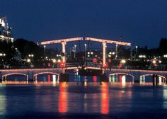 Magere Brug: the 'Magere Brug' (Skinny Bridge) is one of the most picturesque bridges of Amsterdam. At night the bridge is romantically illuminated.