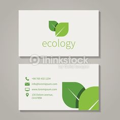 Ecological or eco energy company business card template with green leaves. Cutaway and contact details. Vector illustration