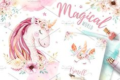 Magical World watercolor unicorns and more! Pencil Illustration, Graphic Illustration, Illustrations, Unicorns, Peace Art, Image Clipart, Princess Cartoon, Pink Animals, Create Invitations