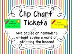 Behavior Clip Chart Tickets~ Nonverbal Praise or Reminders product from Creative-Lesson-Cafe on TeachersNotebook.com