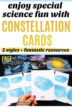 These free constellation cards are excellent ways to enjoy special science fun. Get creative ideas & recommended resources for extending the learning fun! Solar System Activities, Hands On Activities, Learning Activities, Science For Kids, Science Fun, Fun Printables For Kids, Science Curriculum, Science Resources, School Fun
