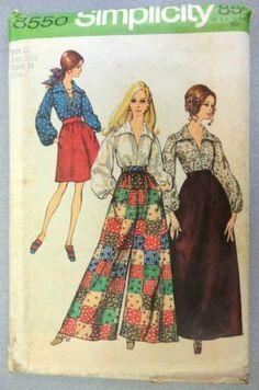 Simplicity Size 10 Sewing Pattern 8550 UNcut Maxi & Knee Length Skirt, Pants, Blouse 1969 Vintage