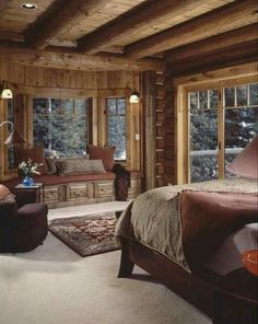 Warm and cozy cabin bedroom! Love this cabin style decor! Log home bedroom, Log Log Home Bedroom, Cozy Bedroom, Log Cabin Bedrooms, Rustic Cabin Master Bedroom, Trendy Bedroom, Rustic Bedrooms, Master Bedrooms, Dream Bedroom, Winter Bedroom