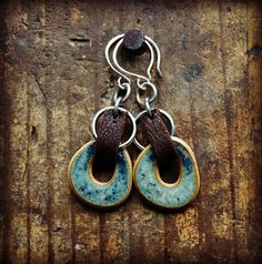 Ceramic and Leather Dangles on Silver earwires with ceramics by Elaine Ray