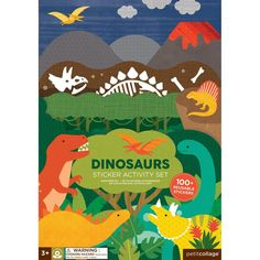 Petit Collage dinosaurs play scene with over 100 reusable paper stickers for hours of rainy day fun. Made with FSC certified paper & printed with vegetable inks. Dinosaur Activities, Book Activities, Toddler Activities, Stickers, Sticker Paper, Collage, Dinosaur Party, Kit, Buenos Aires