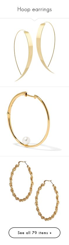"""Hoop earrings"" by minorseventh ❤ liked on Polyvore featuring jewelry, earrings, gold, 14k yellow gold earrings, gold hoop earrings, flat earrings, hoop earrings, lana jewelry, 14 karat gold earrings and white pearl earrings"