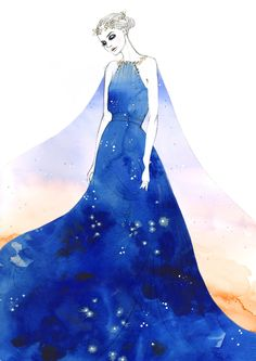 """Idris/Tardis. Beautiful watercolor-esque version of the personified TARDIS from """"The Doctor's Wife."""""""