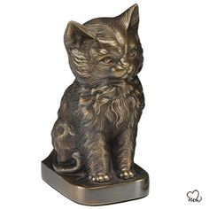 Sitting Cat Pet Cremation Urn for Ashes in Bronze Memorial Urns, Cat Memorial, Pet Cremation Urns, Pet Ashes, Pet Urns, Cat Sitting, Custom Metal, Cat Art, Pure Products