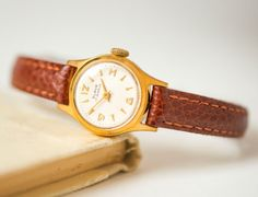 Mid century women's watch gold plated very small by SovietEra