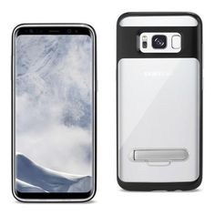 REIKO SAMSUNG GALAXY S8 EDGE/ S8 PLUS TRANSPARENT BUMPER CASE WITH KICKSTAND AND MATTE INNER FINISH IN CLEAR BLACK