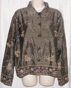 $19.99 Chico's Design Black Gray Silver 100% Silk Embroidered Button Front Top 3 XL