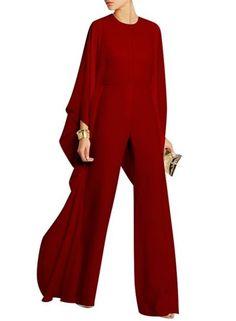 Women's Fashion Solid Batwing Sleeve Wide Leg Jumpsuit novashe.com