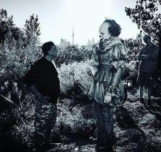 Behind the Scenes shot of Bill Skarsgård as Pennywise
