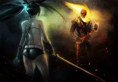 Ghost Rider Heroes comics Fantasy Skulls Girls sexy babes swords weapons dark skull fire flames battle women female art